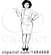 Clipart Of A Grayscale Full Length Hispanic Business Woman Presenting Royalty Free Vector Illustration