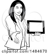 Clipart Of A Grayscale Hispanic Business Woman Holding A Tablet Computer And Reaching Out To Shake Hands Royalty Free Vector Illustration