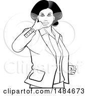 Clipart Of A Grayscale Hispanic Business Woman Gesturing Call Me Royalty Free Vector Illustration