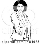 Clipart Of A Grayscale Hispanic Business Woman Reaching Out To Shake Hands Royalty Free Vector Illustration