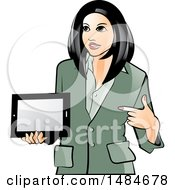 Clipart Of A Hispanic Business Woman Holding And Pointing To A Tablet Computer Royalty Free Vector Illustration by Lal Perera