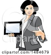 Clipart Of A Hispanic Business Woman Holding And Pointing To A Tablet Computer Royalty Free Vector Illustration
