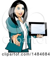 Clipart Of A Hispanic Business Woman Holding A Tablet Computer And Reaching Out To Shake Hands Royalty Free Vector Illustration