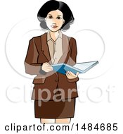 Clipart Of A Hispanic Business Woman Holding An Open Book Royalty Free Vector Illustration by Lal Perera