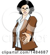 Clipart Of A Hispanic Business Woman Reaching Out To Shake Hands Royalty Free Vector Illustration