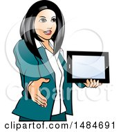 Hispanic Business Woman Holding A Tablet Computer And Reaching Out To Shake Hands