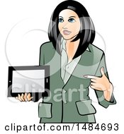 Hispanic Business Woman Holding And Pointing To A Tablet Computer