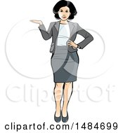 Clipart Of A Full Length Hispanic Business Woman Presenting Royalty Free Vector Illustration
