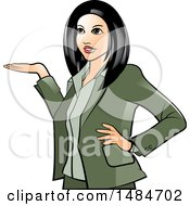 Clipart Of A Hispanic Business Woman Presenting Royalty Free Vector Illustration