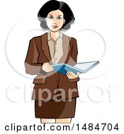 Clipart Of A Hispanic Business Woman Holding An Open Book Royalty Free Vector Illustration