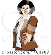 Poster, Art Print Of Hispanic Business Woman Reaching Out To Shake Hands