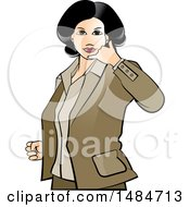 Clipart Of A Hispanic Business Woman Gesturing Call Me Royalty Free Vector Illustration