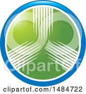 Clipart Of A Round Green White And Blue Icon Royalty Free Vector Illustration by Lal Perera