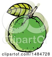 Clipart Of A Sketched Guava Fruit Royalty Free Vector Illustration
