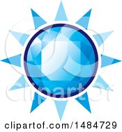 Clipart Of A Blue Diamond Gemstone Sun Royalty Free Vector Illustration