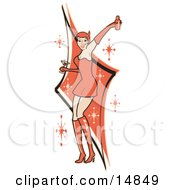 Attractive Woman In A Tight Red Dress Gloves And Tall Boots And Forked Devil Tail Dancing While Drinking At A Party Clipart Illustration by Andy Nortnik