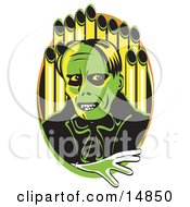 Green Phantom Standing In Front Of Pipes Of An Organ Clipart Illustration