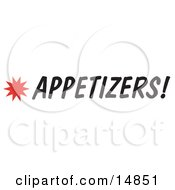 Appetizers Sign With A Star Burst Clipart Picture