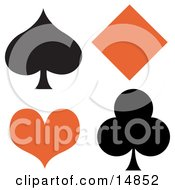 Black Spade And Club With An Orange Diamond And Heart Clipart Illustration