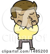 Clipart Of A Cartoon Model Guy Pouting