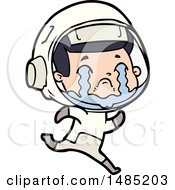 Clipart Of A Cartoon Crying Astronaut