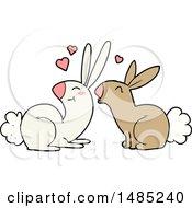 Poster, Art Print Of Cartoon Rabbits In Love