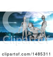 Clipart Of A 3d Group Of Curious Aliens Royalty Free Illustration by KJ Pargeter