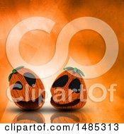 Poster, Art Print Of 3d Halloween Jackolantern Pumpkins On An Orange Watercolor Background