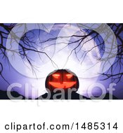 Poster, Art Print Of 3d Halloween Jackolantern Pumpkin With Bare Branches Against A Full Moon