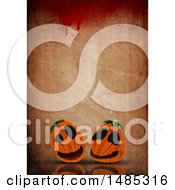 Clipart Of  3d Halloween Jackolantern Pumpkins On A Bloody Grungy Background Royalty Free Illustration