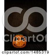 Clipart Of A 3d Halloween Jackolantern Pumpkin Over A Dark Background Royalty Free Illustration