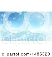 Clipart Of A 3d Snowy Winter Night Landscape Royalty Free Illustration