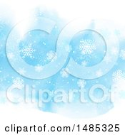 Blue Christmas Background Of Snowflakes On Watercolor