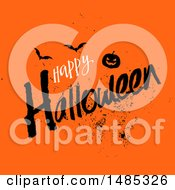 Happy Halloween Greeting With A Jackolantern Pumpkin And Bats On Orange
