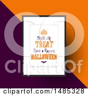 Clipart Of A Framed Trick Or Treat Have A Happy Halloween Design Over Orange And Purple Royalty Free Vector Illustration by KJ Pargeter