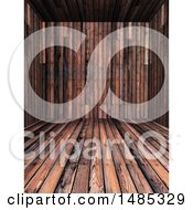 Clipart Of A 3d Wood Room Interior Royalty Free Illustration
