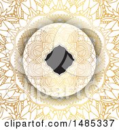 Clipart Of A Frame On A Golden Mandala Background Royalty Free Vector Illustration