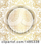 Clipart Of A Golden Mandala Background Royalty Free Vector Illustration by KJ Pargeter