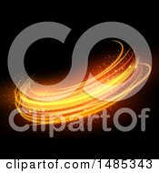 Clipart Of Sparkly Glowing Lines On Black Royalty Free Vector Illustration