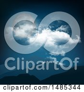Clipart Of A Full Moon And Clouds In A Night Sky Over Mountains Royalty Free Vector Illustration by KJ Pargeter