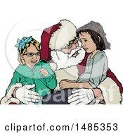 Girls Sitting On Santas Lap