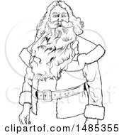 Clipart Of A Black And White Santa Royalty Free Vector Illustration by dero
