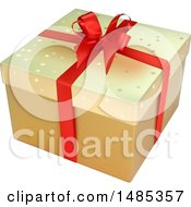 Clipart Of A 3d Christmas Gift Box Royalty Free Vector Illustration