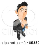 Poster, Art Print Of 3d Business Man Gesturing For Silence On A White Background