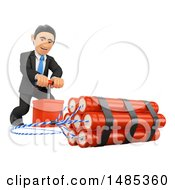 Clipart Of A 3d Business Man Detonating Dynamite On A White Background Royalty Free Illustration