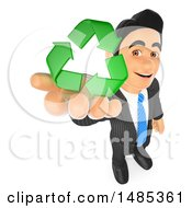 Clipart Of A 3d Business Man Holding Up Recycle Arrows On A White Background Royalty Free Illustration