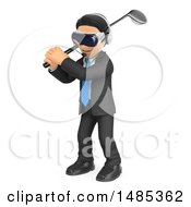 Clipart Of A 3d Business Man Wearing Virtual Reality Glasses And Swinging A Golf Club On A White Background Royalty Free Illustration by Texelart