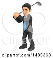 Poster, Art Print Of 3d Business Man Swinging A Golf Club On A White Background