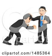 Clipart Of A 3d Business Man Holding Back An Angry Colleague On A White Background Royalty Free Illustration