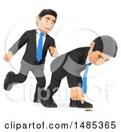 Poster, Art Print Of 3d Business Man Kicking A Colleague On A White Background